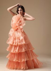 Orange Red A-line Strapless Pleated Prom Dresses with Brush Train