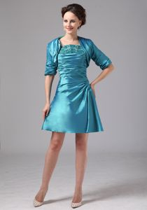 Taffeta Ruched Beaded Teal Short Prom Dress Popular in Little Switzerland USA