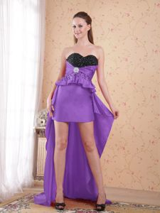 Attractive High-low Beaded Purple and Black Prom Gown Dress in Style