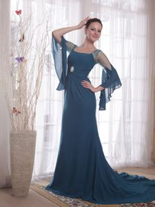 up-To-Date Square Neck Teal Formal Prom Gowns with Sheer Long Sleeves