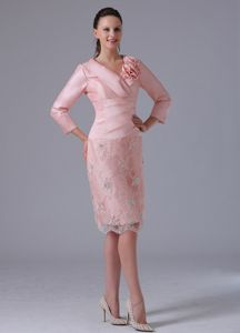 Long Sleeves Baby Pink Short Prom Dress for Mother Of The Bride with Flowers