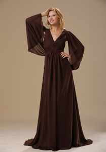 V-neck Long Sleeves Brown Formal Prom Dress in Oklahoma City USA