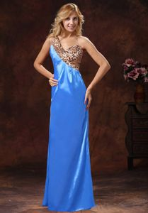 Leopard Print One Shoulder Long Junior Prom Dress in Baby Blue and Brown
