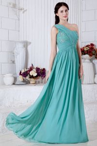 Classy Apple Green Beaded Long One Shoulder Prom Outfits Online Shop