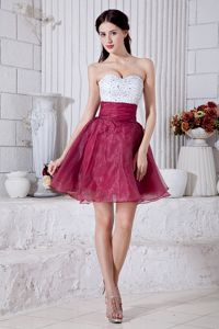 White and Burgundy Organza Beaded Short Senior Prom Dress in Style