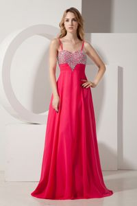 Beautiful Coral Red Beaded Prom Dress for Summer with Spaghetti Straps