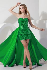 Glitz Sequin Green Prom Dresses with Detachable Train Recommended