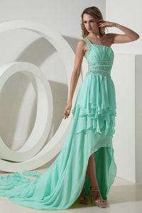 High-low One Shoulder Beaded Apple Green Prom Dress for Summer Wholesale