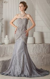Chiffon Lace Trumpet Gray Formal Prom Attire with Ruche Fast Shipping