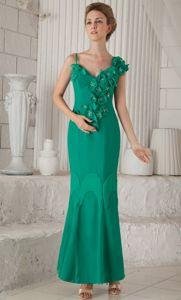 Turquoise Long Prom Gown Dress with Flowers and Asymmetrical Neck