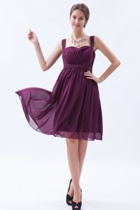 Chiffon Straps Ruched Dark Purple Short Prom Dress Fast Shipping 2014