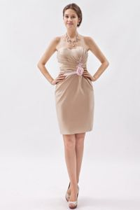 Zipper-up Ruched Champagne Mini Prom Dress for Summer with Flower