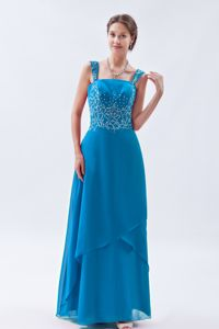 Straps Teal Long Prom Gown Dresses with Beading in La Moure USA