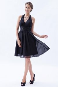 Chiffon Halter Navy Blue Short Semi-Formal Senior Prom Dress under 100