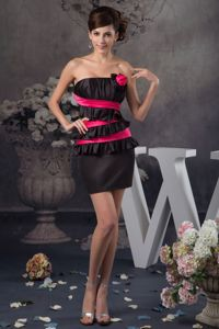 Hot Pink and Black Mini Length Dress for Formal Prom in Harrisonburg