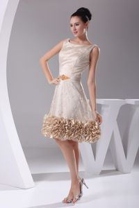 Scoop Lace Prom Dress with Sash and Ruffles in Charlottesville VA
