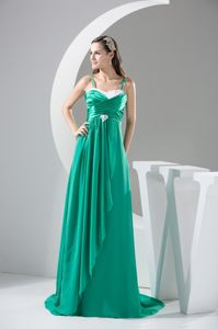 Hand Flowery and Ruffled Prom Gowns with Spaghetti Straps in Chantilly