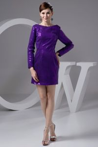 Bateau Sequined Prom Dresses with Long Sleeves in Eggplant Purple