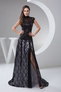 High-neck Beaded Black Lace Formal Prom Dress with Brush Train