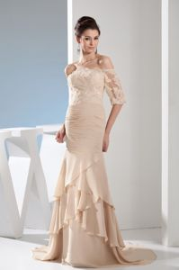 Lace Mermaid Champagne Off the Shoulder Prom Dress Brush Train