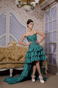 Turquoise Sweetheart High-low Taffeta Prom Attire with Beading in Denton