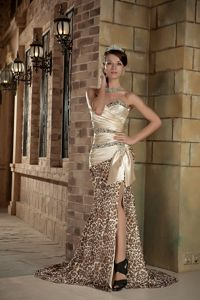 Champagne Leopard Beaded Prom Attire with Brush Train in Fort Worth