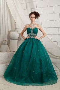 Green A-line Sweetheart Organza Formal Prom Dresses with Beading