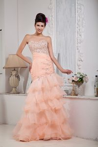 Sweetheart Organza Beaded Baby Pink Prom Dresses in Floor-length