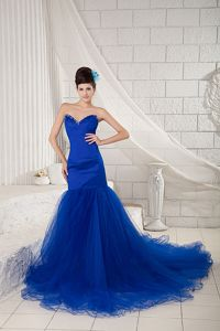 Royal Blue Mermaid Beaded Prom Dresses with Chapel Train in Franklin