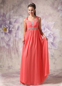 Watermelon Red Chiffon Prom Dresses with Straps in Greenville SC