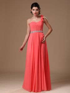 One Shoulder Watermelon Beaded Prom Gowns with Hand Flowers