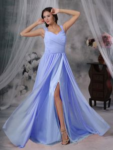 Light Blue Chiffon Pleated Prom Dresses with Brush Train in Columbia
