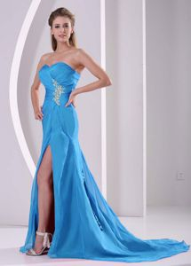 Light Blue Appliqued and Ruched Dress for Prom with High Slit in Greenville