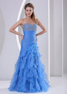 Ruffled Light Blue Sweetheart Beaded and Ruched Prom Dresses in Columbia