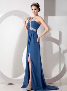 Navy Blue One Shoulder Prom Dresses with Beading and Ruches in Columbia