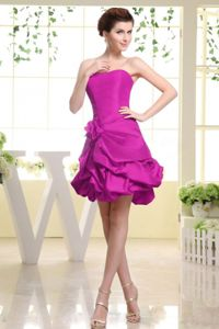 Strapless Fuchsia Hand Flowery Prom Dress with Pick-ups in Clemson