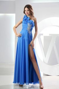 One Shoulder High Slit Appliqued Blue Prom Dress with Beading in Newport