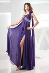Beaded Purple One Shoulder Ruched Dress for Prom with High Slit