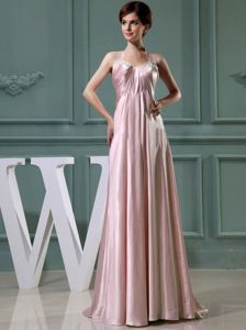 Beaded Halter Baby Pink Elastic Woven Satin Long Prom Dress in Columbia