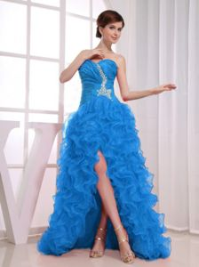 Classic Teal High-low Beaded Ruffled Prom Dress on Sale in Hettinger ND