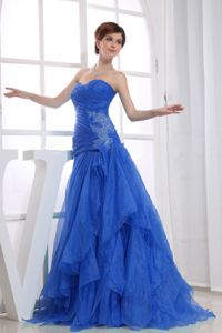 Modest A-line Blue Prom Gown with Appliques and Ruche in Garner NC