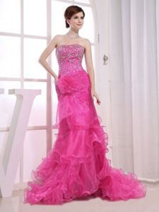 Organza Strapless Beaded Ruffled Hot Pink Formal Prom Dress Hot Sale