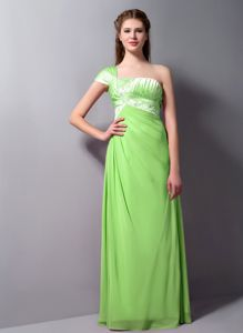 One Shoulder Spring Green Formal Prom Dresses with Beading Online