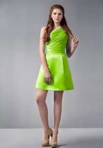 Recommended One Shoulder Ruched Short Prom Dress in Spring Green Gastonia NC