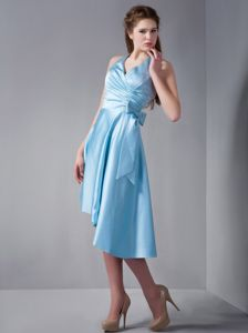 Halter Top Asymmetrical Hem Light Blue Prom Dress for High Girls with Bowknot