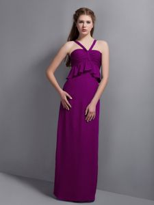 Cheap Floor-length Purple Formal Chiffon Prom Dress for Summer with Straps