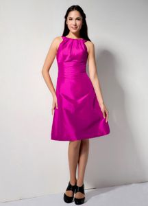Plus Size Charming Scoop Neck Fuchsia Short Prom Dresses in Mohall ND