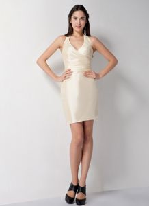 Brand New Halter Top Champagne Mini Prom Dress for Summer under 100