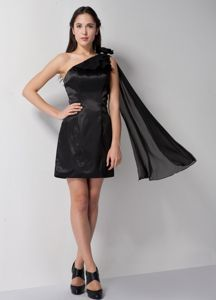 Affordable One Shoulder Black Mini Informal Prom Dress About 100