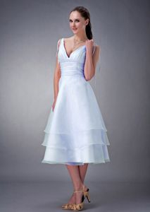 Simple A-line V-neck Tea-length Baby Blue Prom Dress in Valley City ND
